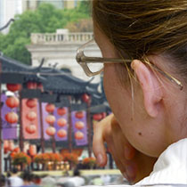 closeup of girl in china town