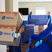 Hilldrup movers carrying boxes