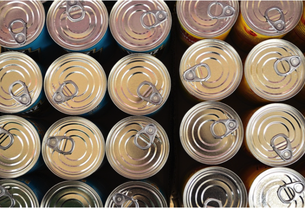 Aerial view of cans