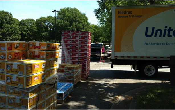Pallets of chips being loaded onto United moving truck