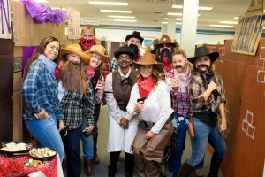Hilldrup employees at Halloween dressed for the wild west