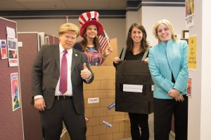 Marketing team dressed up for halloween inspired by election season