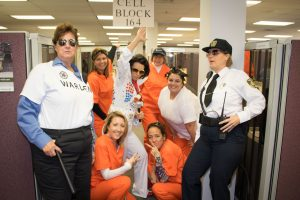 Hilldrup employees dressed as jailmates.