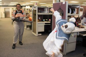 Hilldrup employees dressed as Ghostbusters