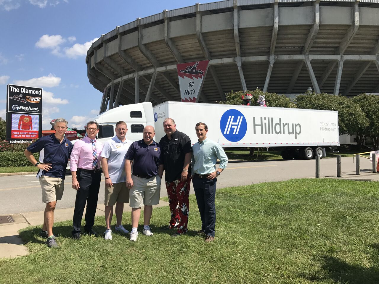 Hilldrup Truck outside of stadium