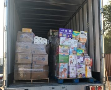 Truck loaded with donated items