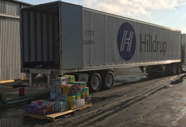 Donated items beside Hilldrup truck