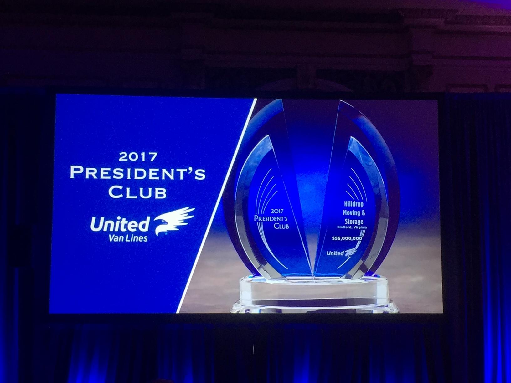 2017 President's Club award on screen