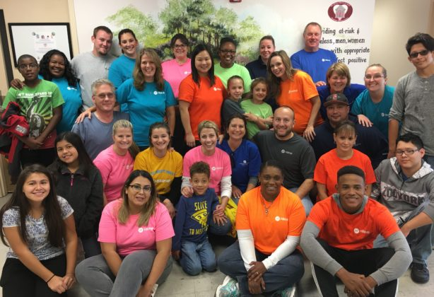 Group photo in homeless shelter