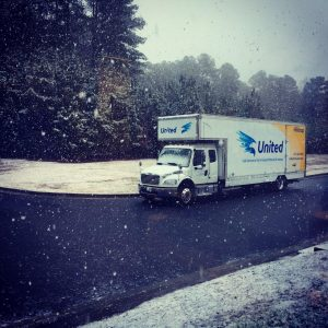 Snow in Atlanta with a Hilldrup truck
