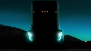 Front of Tesla Semi truck at night