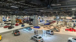 Showroom with multiple vehicles on display