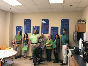 Raleigh team on St. Patrick's Day dressed in green