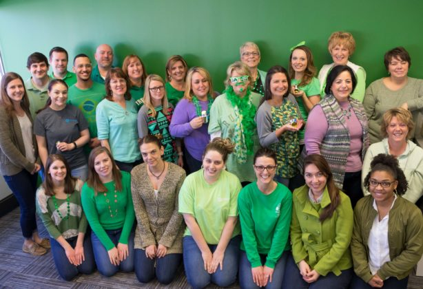 Hilldrup employees dressed in green for St. Patrick's Day