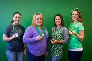 Hilldrup employee prize winners with their small pots of gold