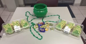 St. Patrick's Day decor and cookies on a table