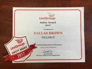 Dallas Brown's award and Safety sticker