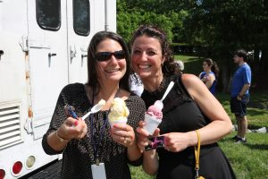 Hilldrup employees take photo with their ice cream from ice cream truck