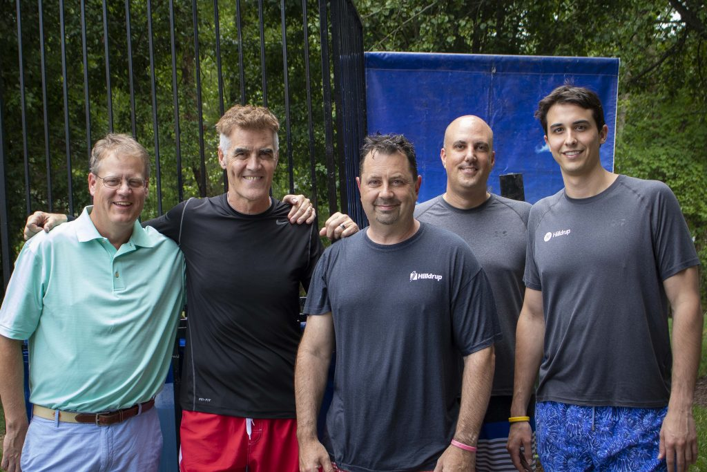 Russ Watson, Greg Donovan, George Roth, John Seal, and Charlie and Charlie McDaniel group photo, the dunkees at the dunk tank