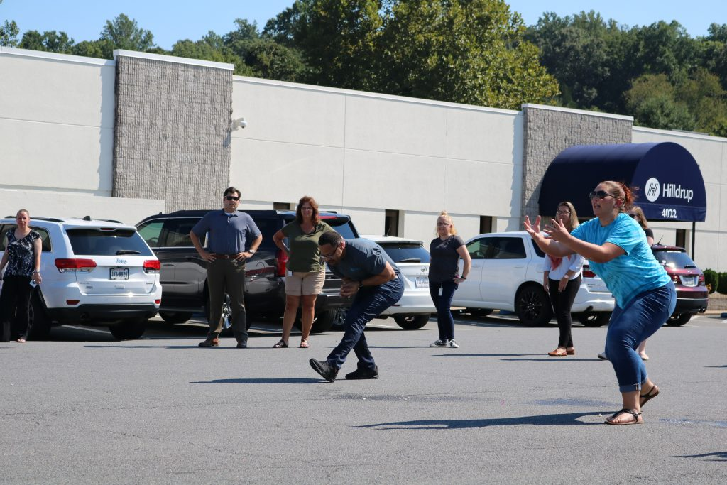Hilldrup employees prepare to catch water balloons