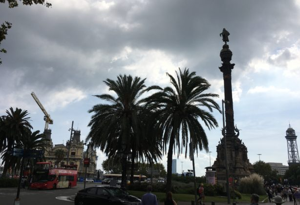 Palm trees and a statue in Barcelona, Spain