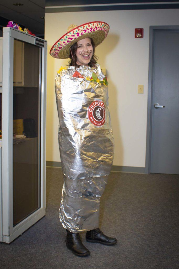 Darcy Duxbury dressed as a Chipotle burrito