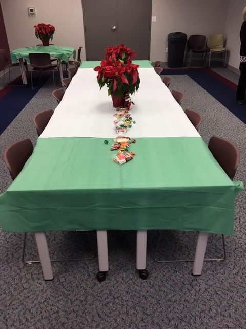 Table decorated for Christmas