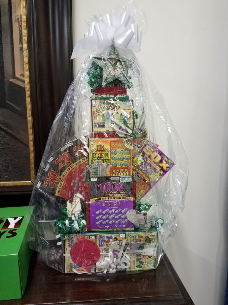 Gift baskets filled with lottery tickets