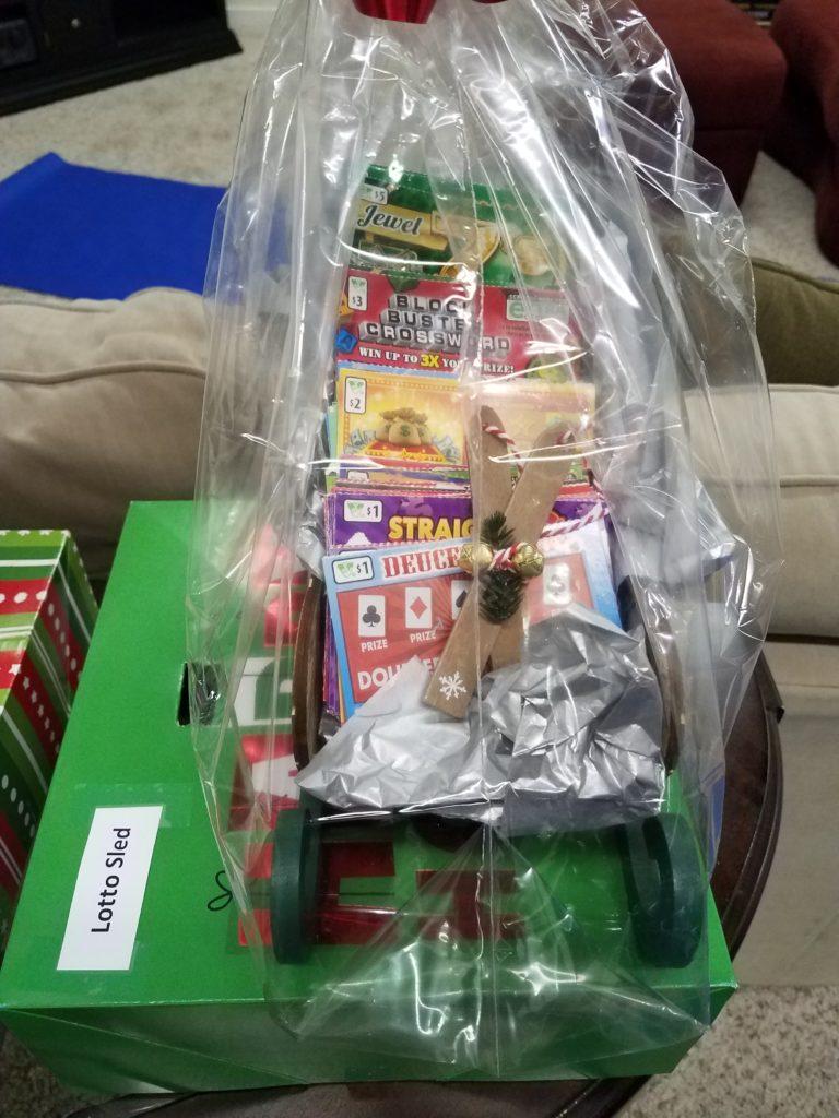Lotto sled giftbasket