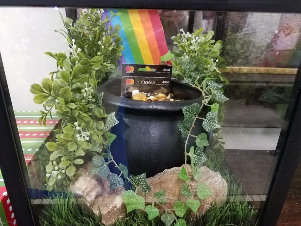 Pot of Gold with 2 $500 gift cards inside