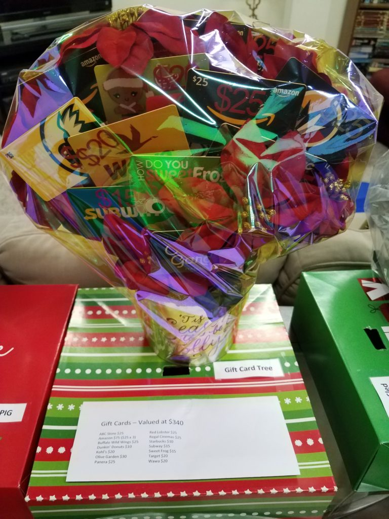 Giftbasket filled with giftcards