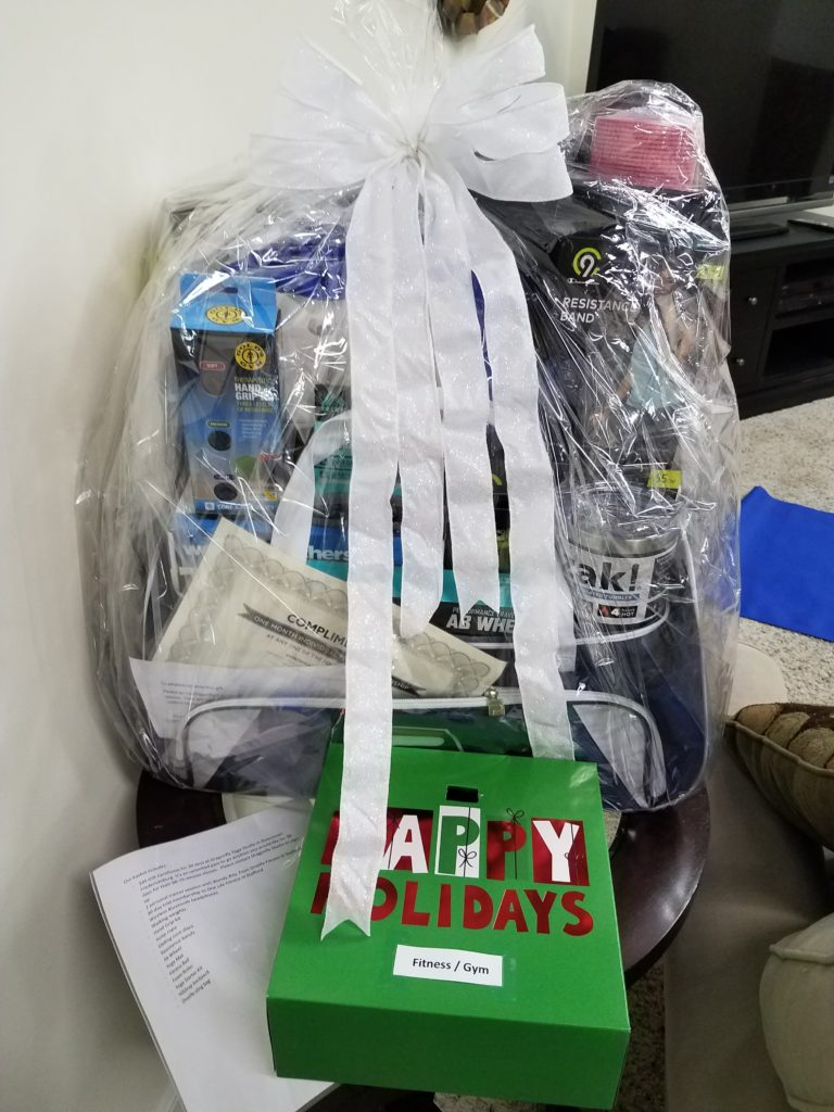 Gift basket filled with workout items