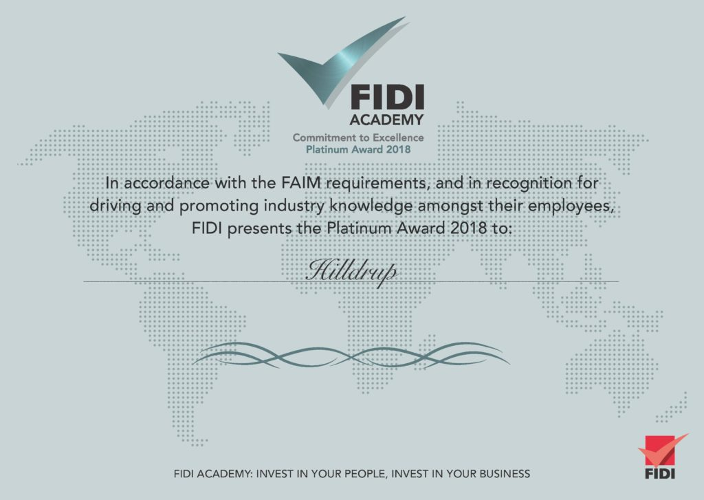 FIDI's Platinum Award Certificate