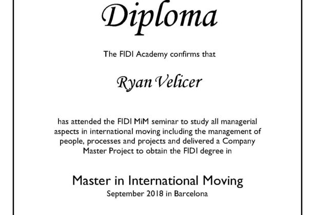 Ryan Velicer's FIDI Academy Diploma for his Maters in International Moving