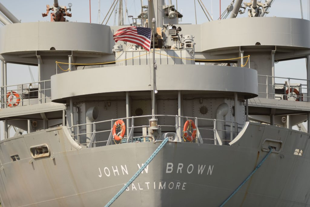 Close up of John W Brown Ship at cargo terminal in Baltimore