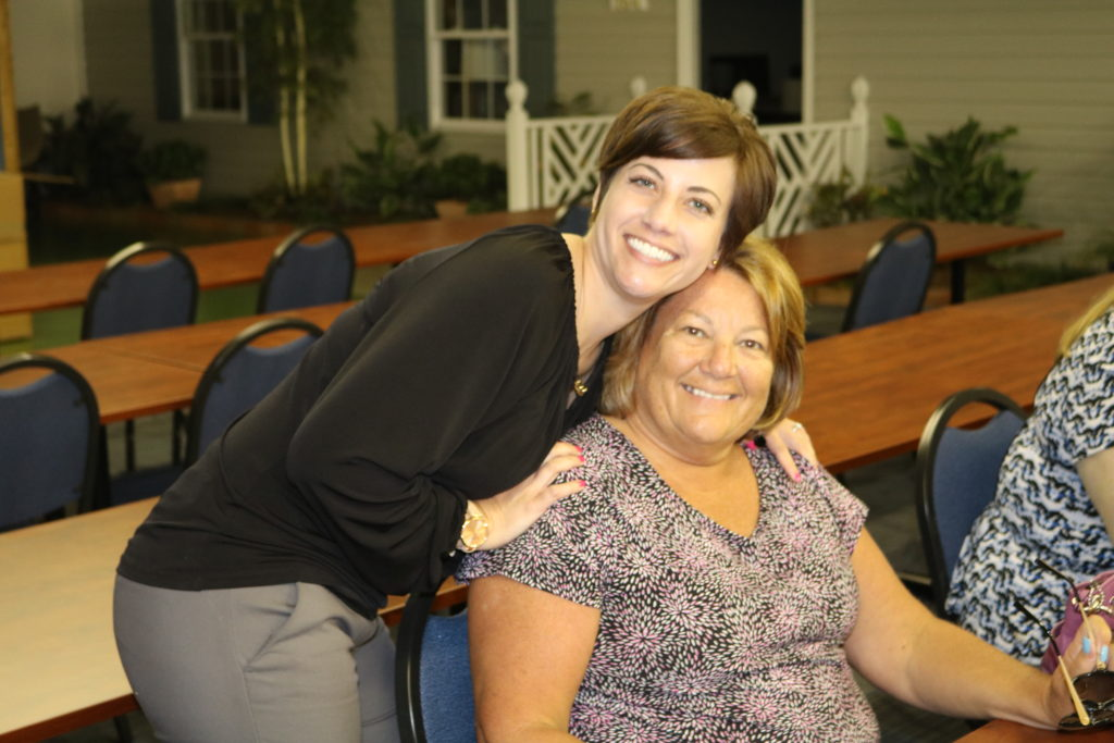 Chrissy Gregath with her mom, Peggy Crocker, during Peggy's retirement party.