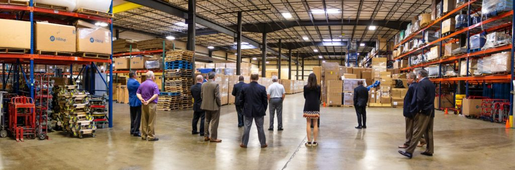 Hilldrup executive staff viewing a storage warehouse in Capitol Heights, Maryland