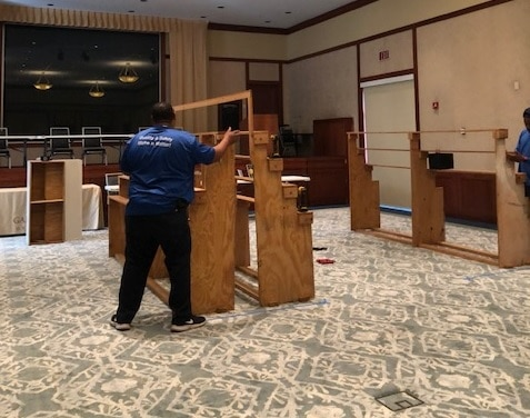 A Hilldrup mover moves furniture
