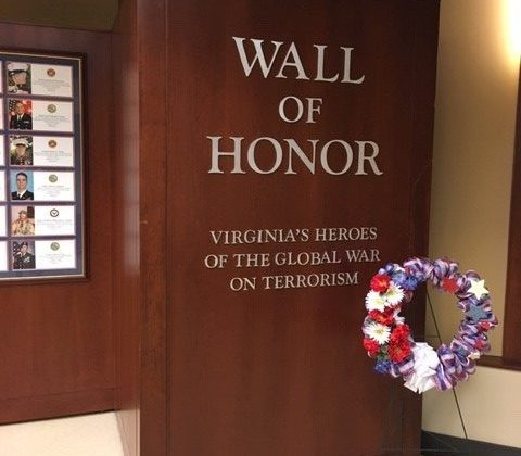 The entrance to the Virginia Wall of Honor Memorial in Richmond