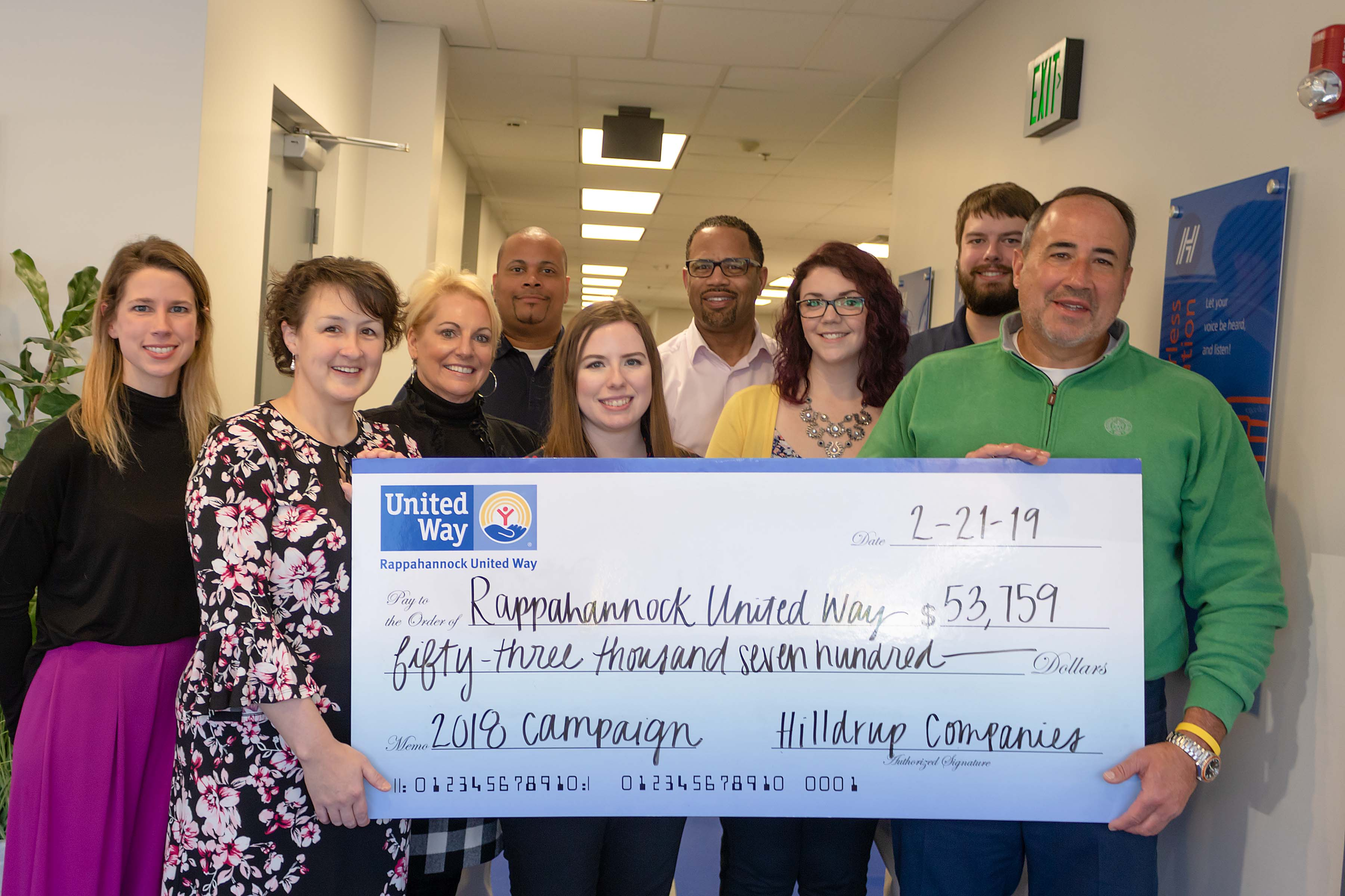 Hilldrup and Rappahannock United Way members with the 2018 campaign check