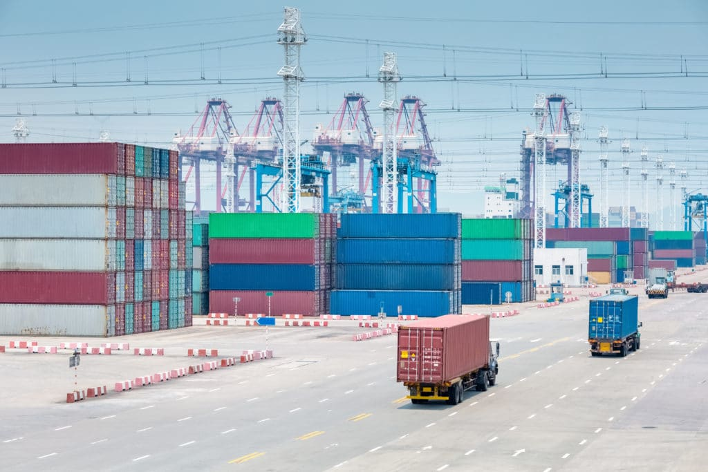 busy container terminal closeup