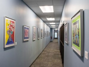 Hilldrup's hall with artwork from students displayed