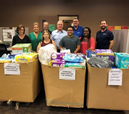 Hilldrup Orlando team members with donations supplied for the Hurricane Relief Fund