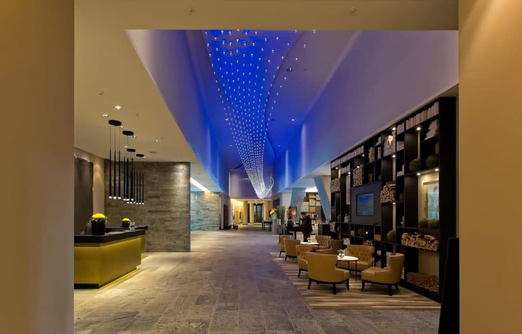 A lobby of an upscale hotel