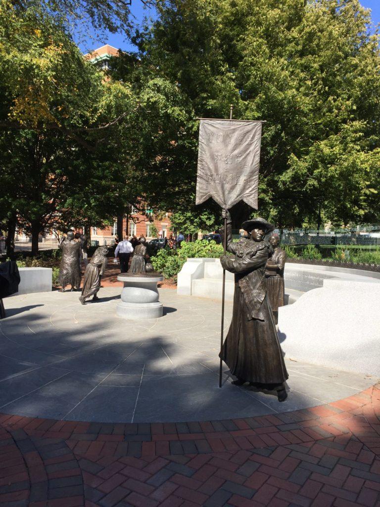 Bronze statue of Adele Clark, an artist and suffragist