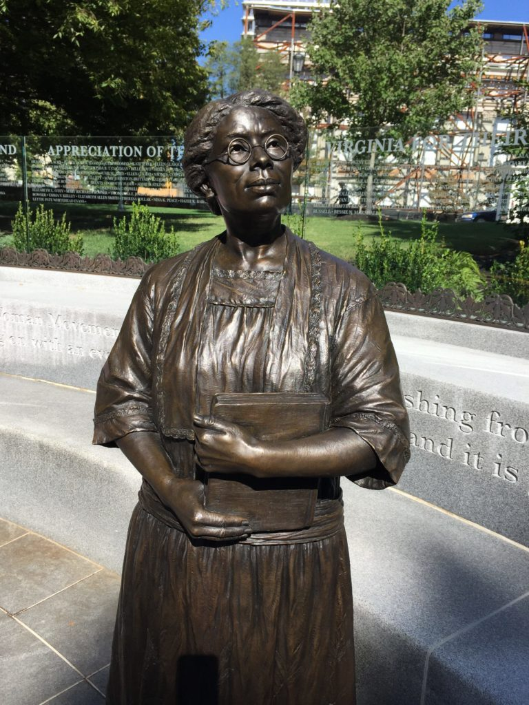 A statue of Virginia Randolph on Richmond's Capitol Square