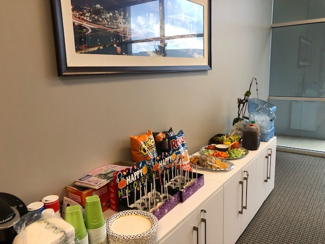 A potluck of food set out in our Atlanta office to celebrate Halloween 2019