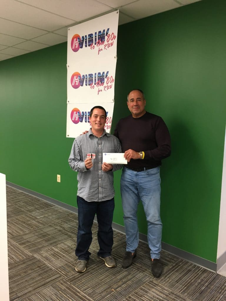 CEO Charles McDaniel with Jason Cox, the winner of our Rappahanock United Way 50-50 rafle