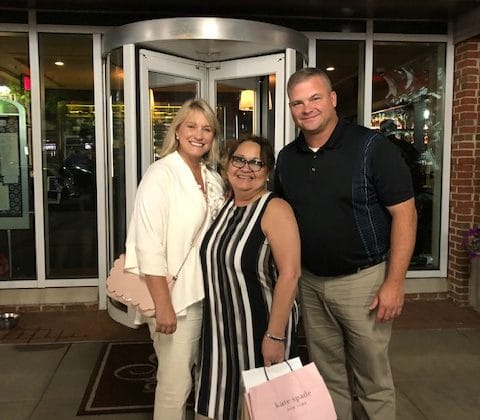 Gina Gant retirement party with Onie Girton and Billy Morrison outside restaurant with Gina