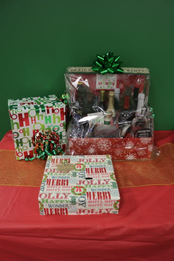 Christmas basket with alcohol and goodies